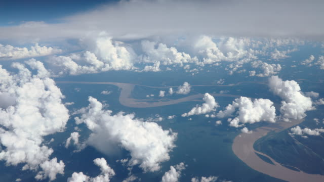 Flying over Amazon river video