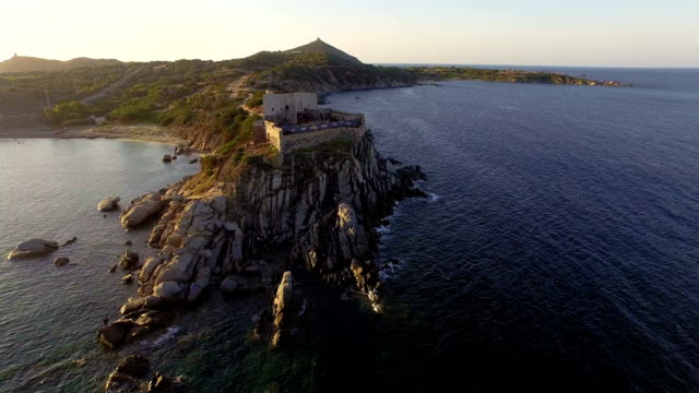 AERIAL: Flying over ancient costal fortress video
