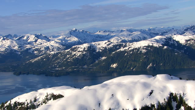 Flying over beautiful mountains and lake, Alaska video
