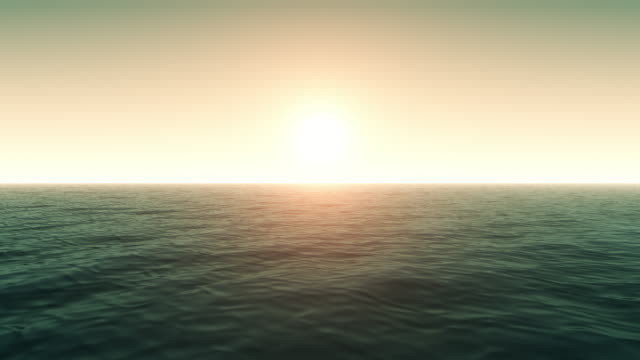 Flying Over Calm Ocean With Sunlight video