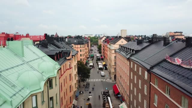Flying over central Stockholm, apartment buildings Flying over central Stockholm, apartment buildings stockholm stock videos & royalty-free footage