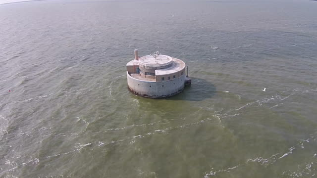 Flying over City of Toledo's water intake in Lake Erie video