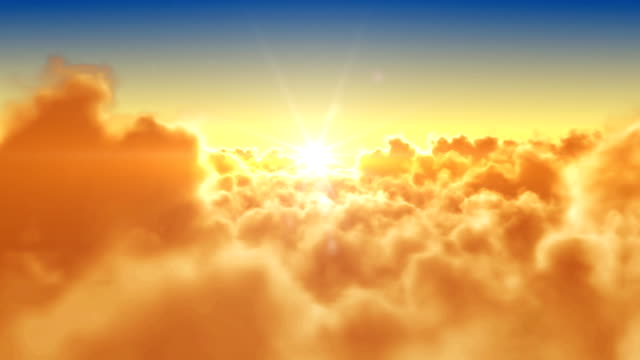 Flying over clouds with the sun. Looped 3d animation. HD.