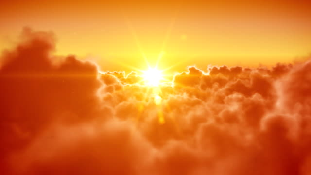 Flying over clouds with the sun. Looped 3d animation. HD. video