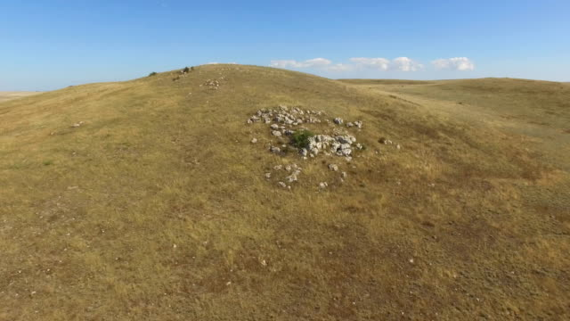AERIAL: Flying over deserted steppe and hills Panoramic views of deserted hilly steppes, aerial video, drone point of view prairie stock videos & royalty-free footage