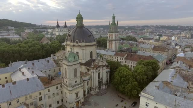 Flying over Dominican church in the Old City Lviv, Ukraine video