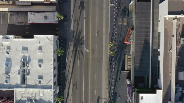 Flying over empty Hollywood Boulevard during Coronavirus pandemic