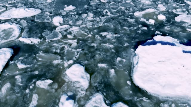 flying over floating sea ice on sunny winter day. camera tilting - ghiaccio galleggiante video stock e b–roll
