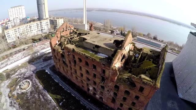 Flying over Gergart Mill in Volgograd, Russia video
