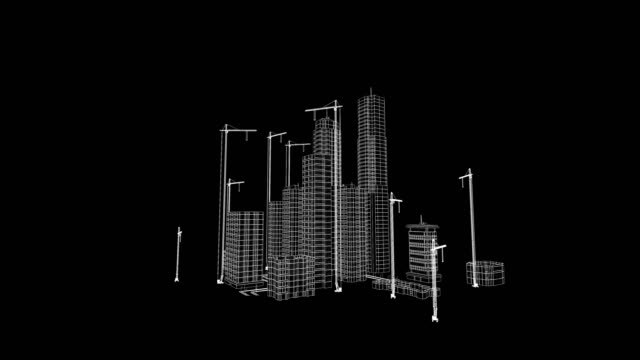 Flying Over Growing City. Beautiful 3d Blueprint of Contemporary Buildings with Cranes. White on Black 3d animation. Construction Business and Technology Concept. 4k Ultra HD 3840x2160.