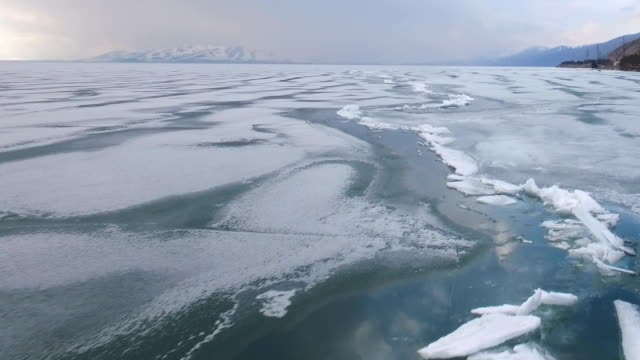 Flying over iced sea or ocean by helicopter . Flying over iced sea or ocean by helicopter . icecap stock videos & royalty-free footage