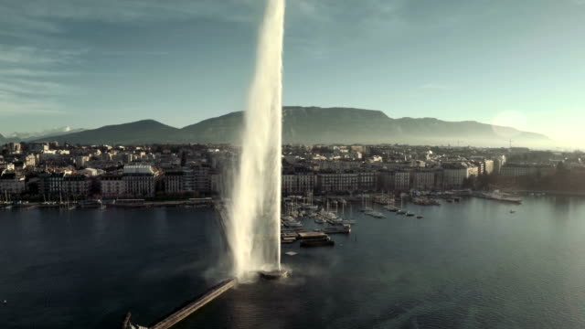 flying over lake Geneva great fountain video