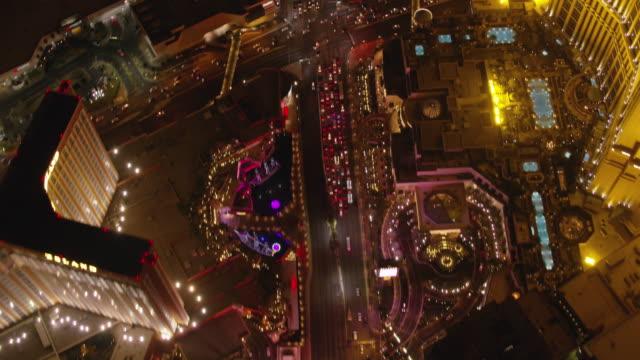 flying over las vegas strip at night. - nevada video stock e b–roll