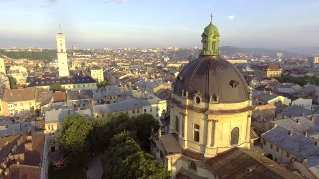 Flying over Lviv City, Ukraine. Panorama of the ancient city. video