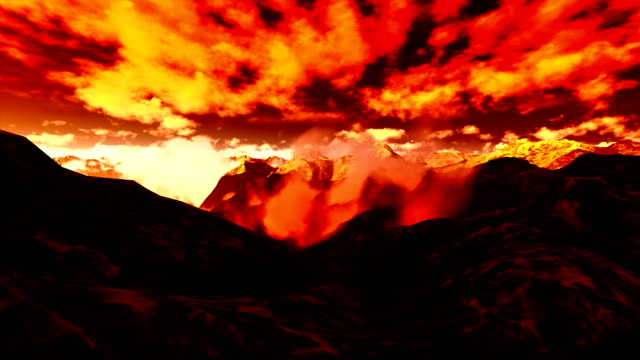 Flying over mountains video
