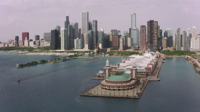Flying over Navy Pier towards downtown Chicago.
