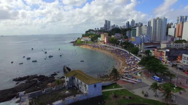 Flying Over Porto da Barra Beach in Salvador, Bahia, Brazil video