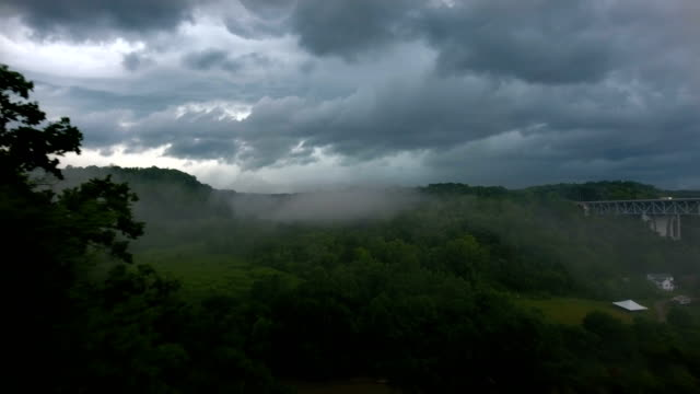 Flying over River Valley in Thunderstorm video