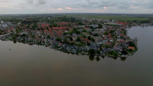 flygande över floden township i nederländerna - drone amsterdam bildbanksvideor och videomaterial från bakom kulisserna