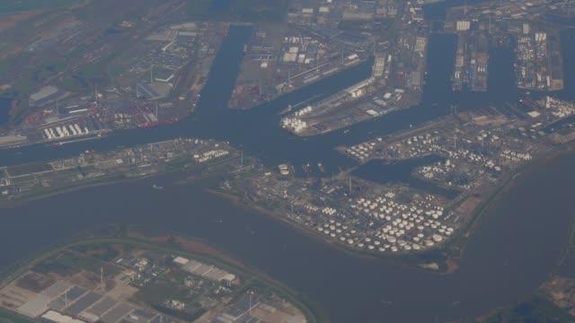 flying over rotterdam port - rotterdam video stock e b–roll