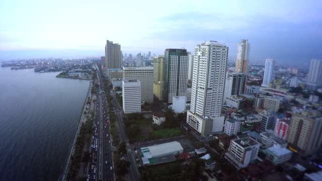 Flying over Roxas Boulevard in Manila video