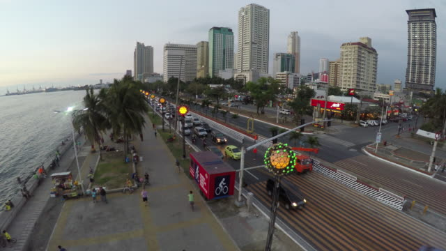 Flying over Roxas Bouleverd in Manila video