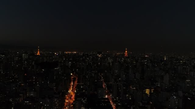 Flying Over Sao Paulo City at night, Brazil video