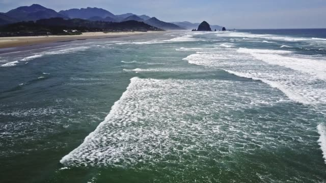 flying over second beach in oregon