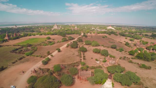 Flying over Shwesandaw Pagoda in Bagan 4k video