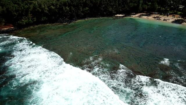 Flying Over Single Wave Washing Toward Maui Shore video