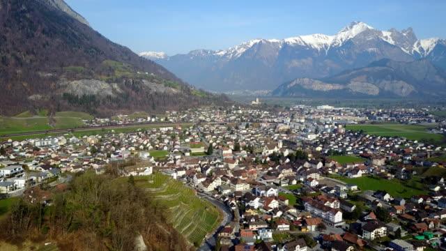 Flying over Swiss Village Switzerland video