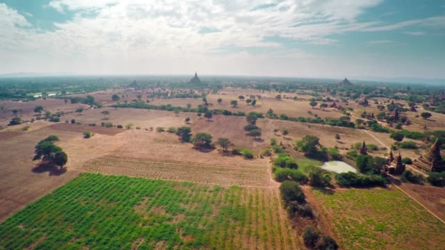 Flying over Temples in Bagan, Myanmar (Burma) 4k video