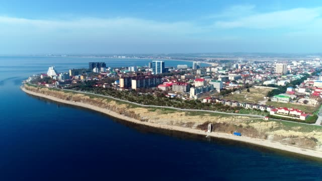 Flying over the beautiful coastal city in mountains Anapa in Russia.