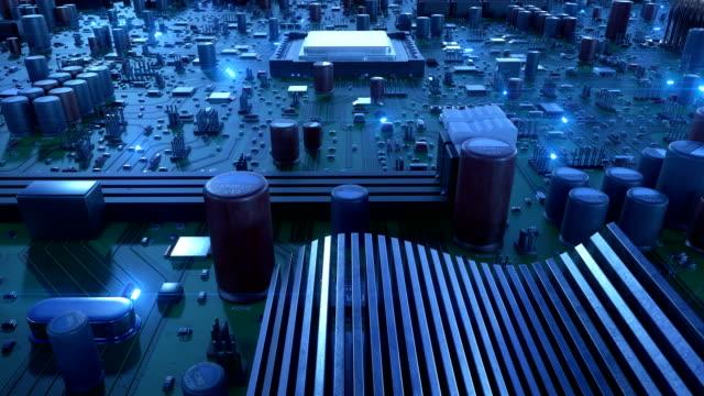 sorvolando il circuito stampato e i processori con segnali blu. animazione 3d in loop di scheda madre e cpu con bagliori blu. tecnologia e concetto digitale. - scheda a circuito video stock e b–roll