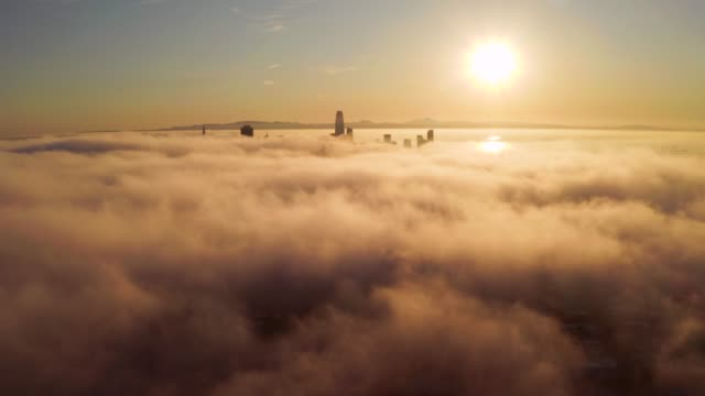 Flying over the clouds during morning sunrise in San Francisco, California. Flying over the clouds during morning sunrise in San Francisco with skyscrapers rising above the clouds. Beautiful Californian morning in San Francisco. oakland stock videos & royalty-free footage