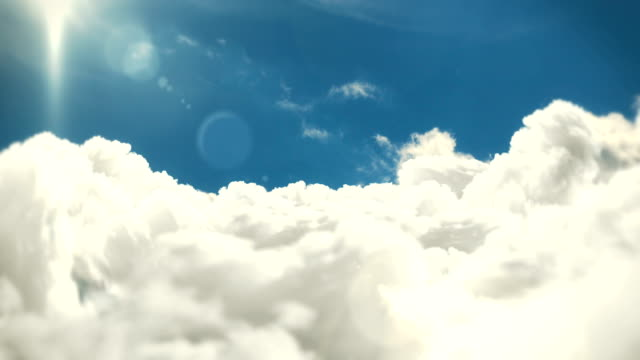 fliegen über die wolken mit sonne und linsenflares loopable cloudscape hintergrundanimation - ewigkeit stock-videos und b-roll-filmmaterial