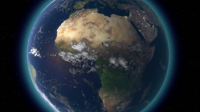 Flying over the earth's surface, 3D rendering.