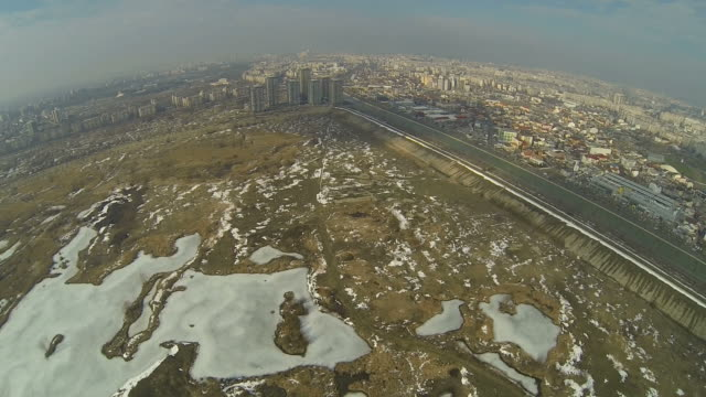 Flying Over The Frozen Vacaresti Delta In Bucharest, Romania video