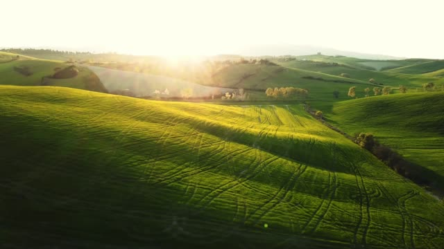 flying over the hills in tuscany - paesaggio collinare video stock e b–roll