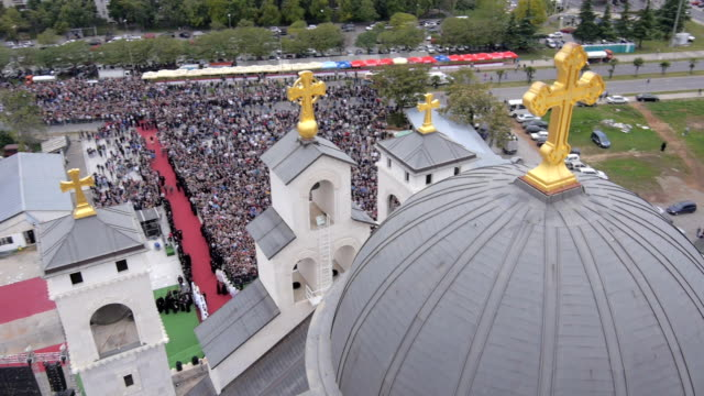 stockvideo's en b-roll-footage met flying over the orthodox church in montenegro. - heilig geschrift