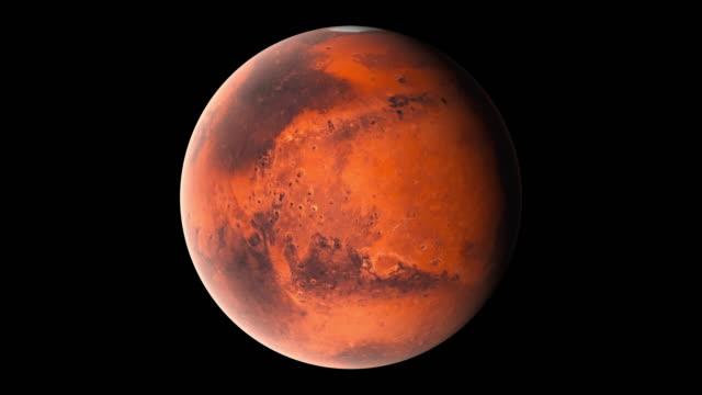 flyger över ytan av planeten mars, datorgenererade. 3d-rendering av realistisk kosmisk bakgrund. delar av denna bild presenteras av nasa - mars bildbanksvideor och videomaterial från bakom kulisserna