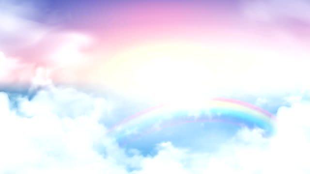 Flying over the timelapse clouds with the afternoon sun. Seamlessly looped animation. Flight through moving cloudscape with beautiful rainbow.