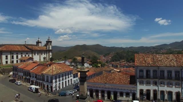Flying over Tiradentes square in Ouro Preto, Minas Gerais, Brazil