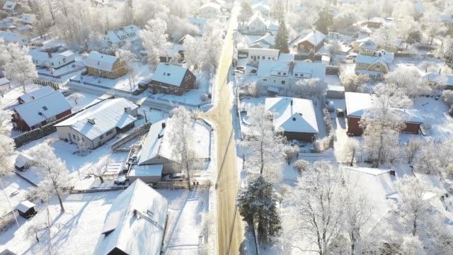 flyger över villa området, vinter dag - sweden map bildbanksvideor och videomaterial från bakom kulisserna