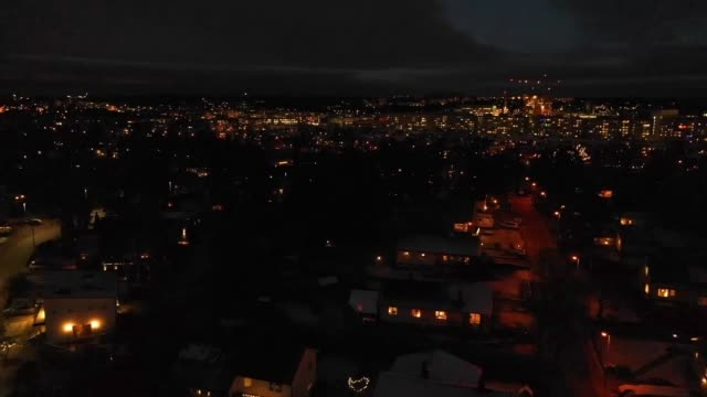 Flying over villa area, winter night Flying over villa area. residential district stock videos & royalty-free footage