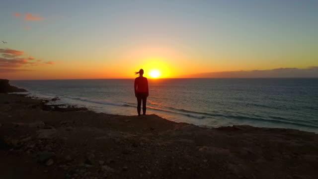 VUE AÉRIENNE: Survolant femme debout sur une falaise haute de l'océan - Vidéo