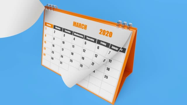 Flying Pages Of Calendar 2020 Year On Blue Background