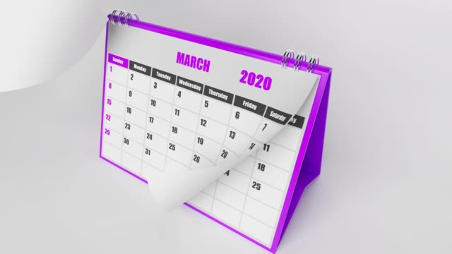 Flying Pages Of Calendar 2020 Year On White Background