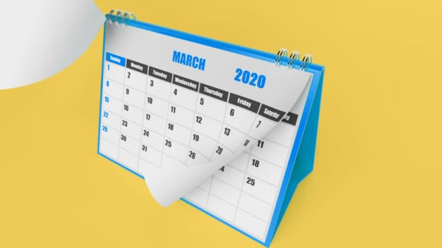 Flying Pages Of Calendar 2020 Year On Yellow Background