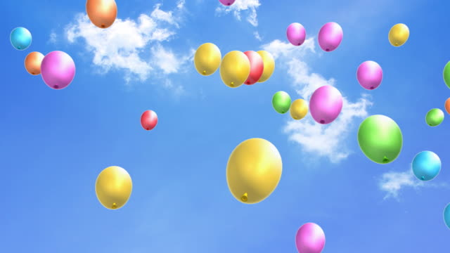 Flying party balloons video